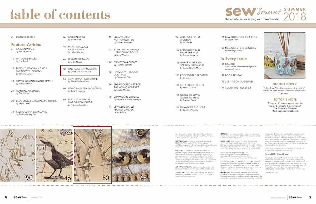 Inhaltsübersicht Zeitschrift Sew of Somerset Summer 2018